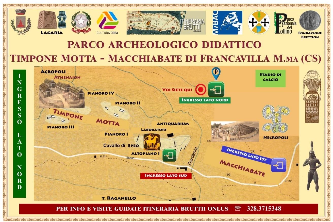 Pianta del Parco archeologico con indicazione dell'ingresso per il pubblico (lato nord)